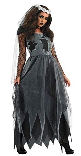 EOZY-Costume per Travestimento da Sposa Cadavere Zombiehalloween Carnevale Donna Ragazza Due Pezzi Abito+Velo Nero Taglia Unica Busto 88cm