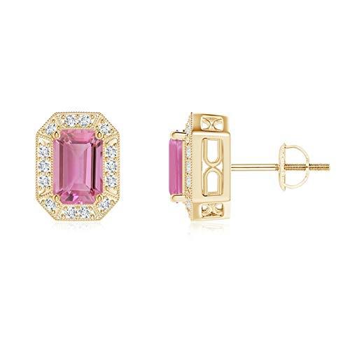 Pendientes de tuerca de turmalina rosa y halo de diamantes de talla esmeralda (turmalina rosa de 6 x 4 mm)
