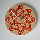 Atom - Reloj de pared de madera redondo, silencioso, no hace