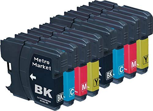 Metro Market 8 Pezzi LC1100 Cartucce d'inchiostro Compatibile per Brother DCP-145C DCP-163C DCP-165C DCP-167C DCP-185C DCP-195C DCP-197C DCP-365CN DCP-373CW DCP-375CW DCP-377CW
