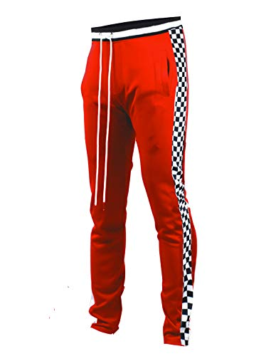 SCREENSHOTBRAND-P11854 Mens Hip Hop Premium Slim Fit Track Pants - Athletic Jogger Bottom with Side Checker Taping-Red-XLarge