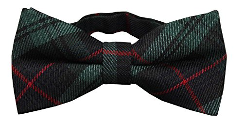 D&L Menswear Men's Pre-Tied Green Tartan Plaid Bow Tie Adjustable Neck Wedding Bowtie