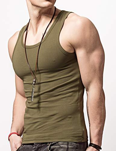 XDIANメンズタンクトップ夏 スポーツ フィットネス ノースリーブタイトノースリーブ シャツ (XL:体重60-65Kg/高さ175-180cm, ??色/陸軍の緑)