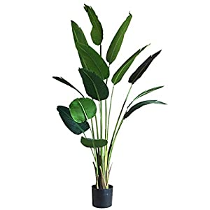 QIFFIY Fake Tree Artificial Tree Large-Scale Simulation Traveler Banana Artificial Banana Tropical Plant Bonsai Ground Space Floral Landscaping Gift (Size : 59 inches)