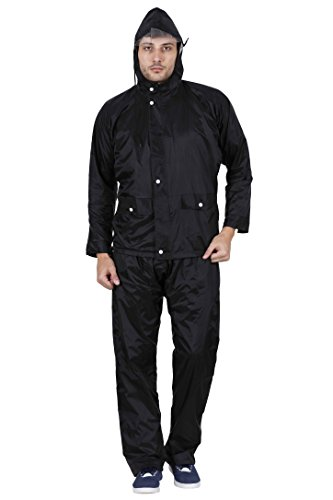 Versalis Men's Rain Coat (Lexus_Black_X-Large)