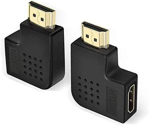 ADWITS Flat HDMI A Maschio a Adattatore Femmina, [2 Pack] 270 Gradi e 90 Gradi HDMI Adattatore Combo, Nero