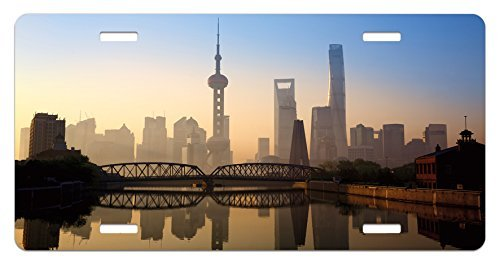 zaeshe3536658 Placa de matrícula de paisaje, horizonte de Shanghai al amanecer con...