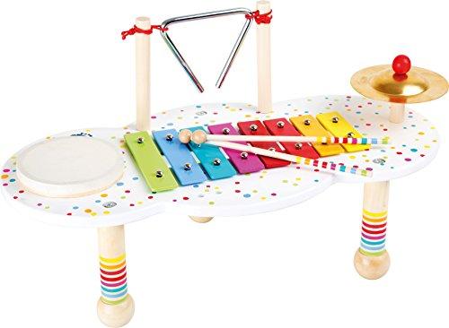 Small Foot- Table à Musique Sound, Forme la motricité et Le Sens du Rythme, 2 Baguettes en Bois, à partir de 3 Ans Instrument, 10385