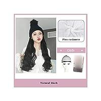 ナチュラル接続髪合成のBlack Hatカーリーヘアストレートヘアウィッグ弾性ニット帽子ウィッグ耐熱女性、23,22Inches