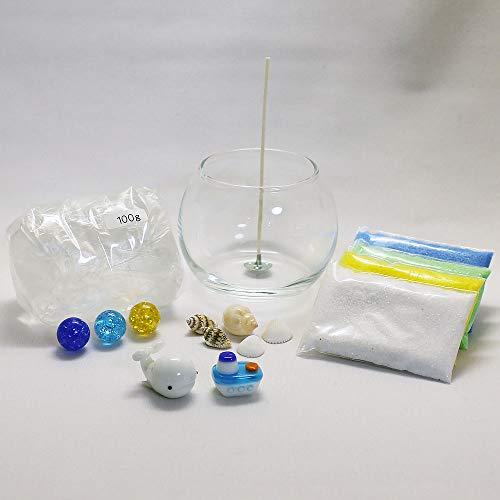 自分で作る!手作りキャンドルセット(ガラス細工2個付/白クジラ、フェリー)