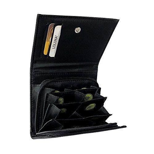 LOLUNA® Porte Monnaie trieur Euro - Compartiment Billets - 8 Compartiments séparés - Qualité supérieur - idée Cadeau Femme ou Homme - Noir