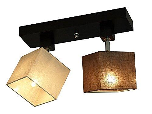 Plafondlamp - Wero Design Vigo-006 C - plafondlamp, lampenkap, 2-spots, hout, stof, chroom