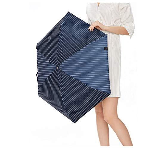 Sonnenschirm Blaue Streifen Sonnencreme Kleine Schwarze Regenschirm Taschenschirm Weibliche Anti-UV Technologie Beschichtung Regen Blockieren 99% Ultraviolett