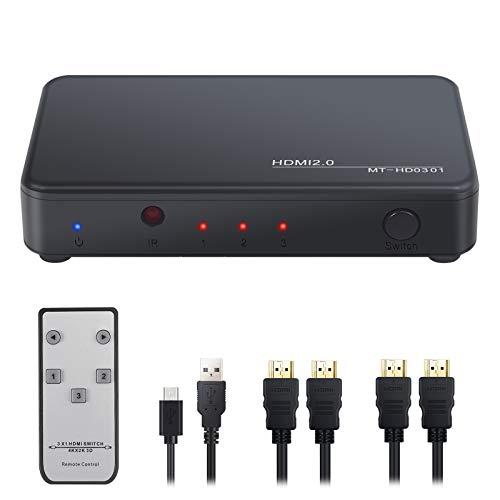 CAMWAY HDMI-Switch 3-in-1-out 4k HDMI-Splitter HDMI-Schalter, HDMI-Schalter mit IR-Fernbedienung, unterstützt 4k @ 60HZ 3D HD1080P für Xbox, PS4, Nintendo Switch/Wii, TV Stick IR Remote Control