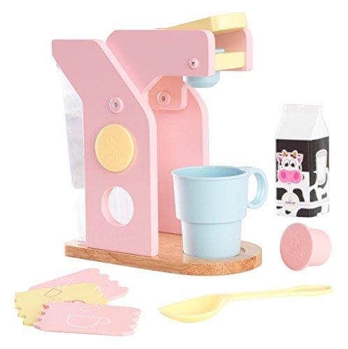 KidKraft 63380 Spielset Kaffee Küchenspielzeug aus Holz für Kinder, Pastellfarben