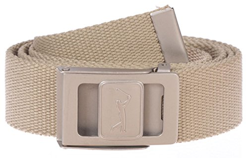 PGA TOUR Men's 1.5″ One Size Adjustable Web Belt with Swinger Logo Buckle (Khaki, One Size)