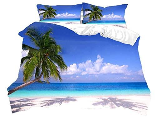 Edredon Nordico Cama 200x200cm Playa De Arena Mar Azul Juego De Funda De Edredón Suave 3 Piezas Funda De Edredón Y Funda De Almohada Impresa,Poliéster Funda Nórdica