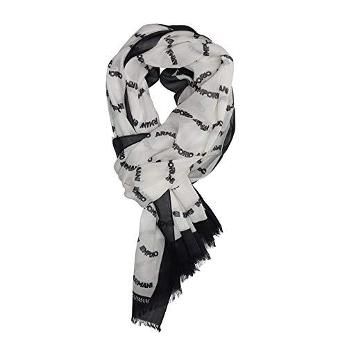 Emporio Armani Damen Cotton Scarf with Logo Detail Modischer Schal, schwarz, Einheitsgröße