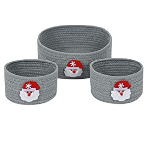Enzk&Unity Christmas Decorative Woven Baskets Storage Xmas Cotton Rope Organizer for Kids, Gifts, Toys, Living Room, Bedroom, Set of 3, Santa Claus, Grey