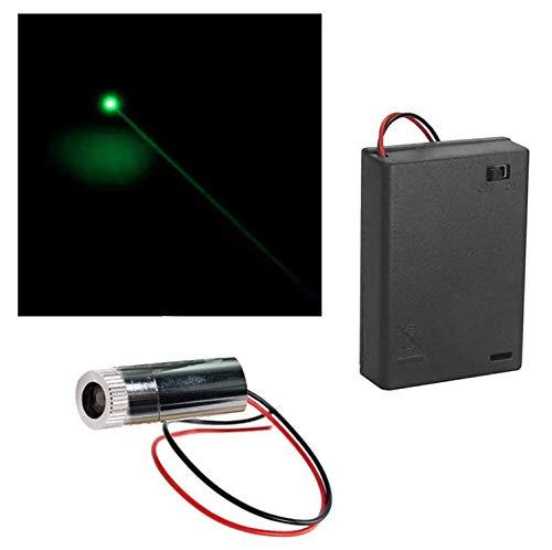CTRICALVER 1pcs 520nm 5.5-6V Módulo de Punto Verde Láser de Enfoque Ajustable con Lente de plástico del Controlador+ 1pcs AA Soportes de Batería (Forma de la fuente de luz: point)