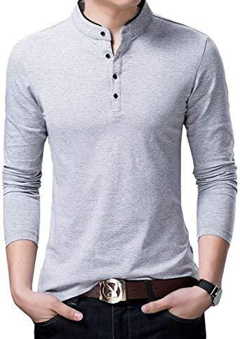 グレー XL Happy Honuハッピー ホヌ ボタン カットソー シンプル デザイン 白 黒 長袖 すっきり シルエ