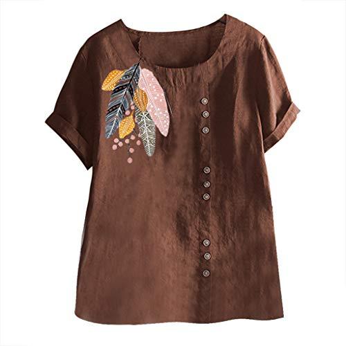Damen Sommer Herbst T-Shirt O-Ausschnitt Kurzarm Hemd Lose Beiläufige Frauen Sexy Gradient Blätter Bedruckt Stretch Jahrgang Weste Yoga Tee Baumwolle Leinen Große Lose Bluse Tops (EU:48, Kaffee)