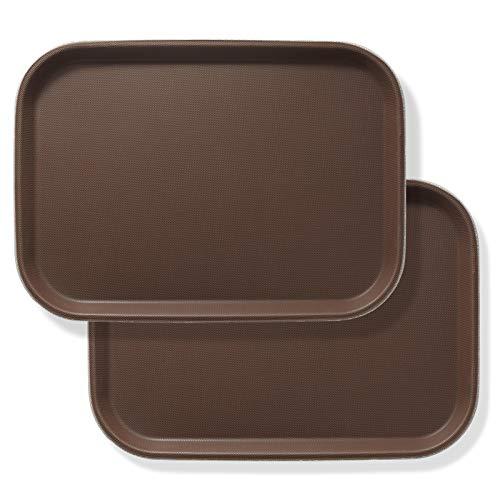 Jubilee bandejas rectangulares de 10 x 14 pulgadas (juego de 2), color marrón – bandeja de servicio de alimentos antideslizante con certificación NSF