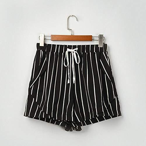 JKFXMN Damen Shorts Leopard Shorts Frauen Streifen Frau Shorts Camouflage Short Femme Elastic, Schwarz, 2XL