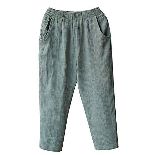 aihihe Wide Leg Pants for Women Plus Size Casual Elastic Waist Cotton Linen Crop Pants Lightweight Capri Pants Trousers Green