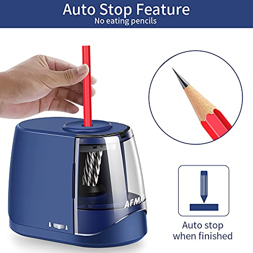 AFMAT Pencil Sharpeners, Electric Pencil Sharpener, Handheld Pencil Sharpener for 6-8mm No.2/Colored Pencils, Great for Classroom/Home, Adjustable Sharpness, Plug in or Battery Powered,Blue Photo #3