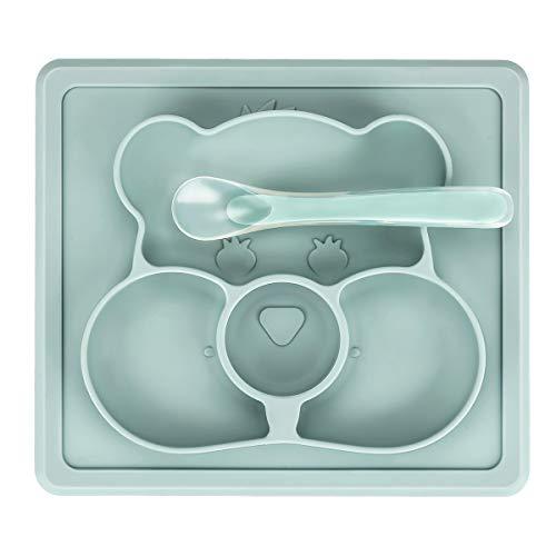 Powcan Baby Telle, Silikon Rutschfester Baby Tischset mit Starker Sog für Baby Kleinkind und Kinder, Geschirrspüler & Mikrowelle sicher BPA-freie kinderteller für die meisten Hochstuhl-Tabletts