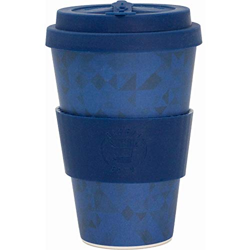 Reusable Coffee Cup (Blue Geo) - Eco Friendly & Organic Biodegradable Bamboo - Made with Food Grade Natural Silicone Lid & Sleeve - Ideal Mug for Travel Or Home Use