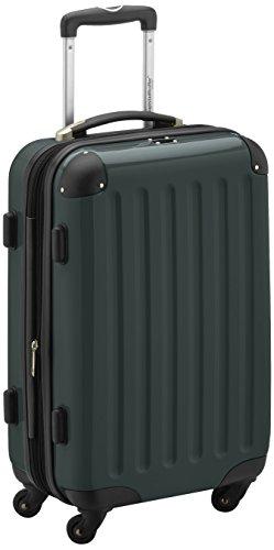 HAUPTSTADTKOFFER - Alex - Handgepäck Hartschalen-Koffer Trolley Rollkoffer Reisekoffer Erweiterbar, 4 Rollen, 55 cm, 42 Liter, Waldgrün