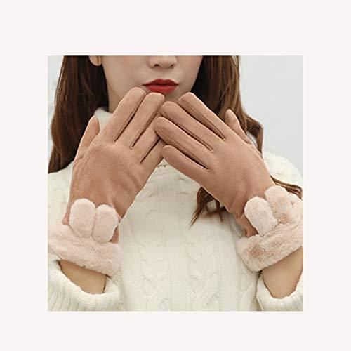 GQSC Koreanische Winter Damen, Handschuhe Wildleder Touch-Screen, Plus Samt warme Handschuhe, Radfahren Plüsch windundurchlässigen Handschuhe (Color : Brown, Size : One Size)