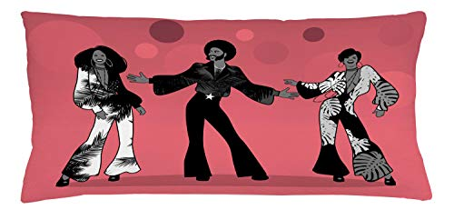 ABAKUHAUS retro Sierkussensloop, Group Dance in Exotic Outfits, Decoratieve Vierkante Hoes voor Accent Kussen, 90 cm x 40 cm, grijs Ruby