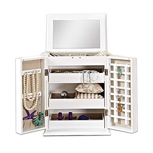 ZXL cosmetica-organizer, sieradendoos, opbergdoos voor cosmetica, toilettafel van hout met spiegel, opbergdoos, cadeaurek