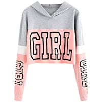 Sudaderas Adolescentes Chicas, Fossen Sudaderas Mujer Tumblr con Capucha - Emoticon Estampado Blusa Tops Camiseta de Manga Larga (Girl - Rosa, S)