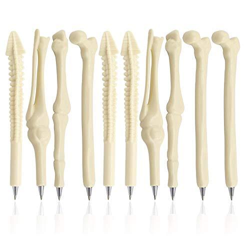 MINGZE 10pcs bolígrafos de bola, tinta negra/azul de 0.7mm, plumas creativas de la forma del hueso de la novedad para el doctor Nurse Friends o estudiante etc