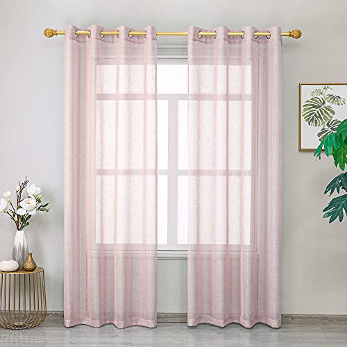 """Roy Lei Light Blush Pink Sheer Curtains Voile Light Filtering Grommet Voile Drapes Curtains for Bedroom & Living Room,Set of 2 Panels Shimmer and Light (Pink-Silver,52""""x63"""")"""