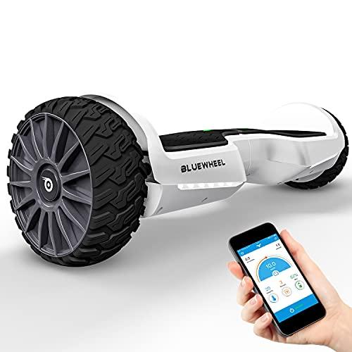 BLUEWHEEL Hoverboard Offroad compatibile con App + altoparlante Bluetooth + LED   Design esclusivo   Tavola autobilanciante + modalità di sicurezza   Batteria premium + motore doppio   HX380 (Bianco)