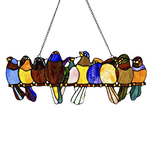 River of Goods Birds on a Wire 9.5 Inch High Stained Glass Suncatcher Window Panel, Multicolor