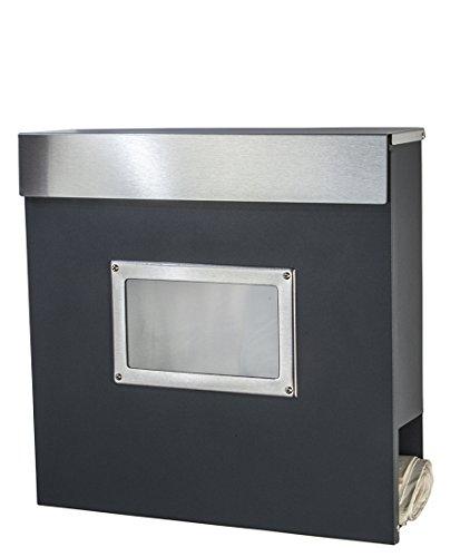 Briefkasten Edelstahl anthrazit grau RAL 7016 Zeitungsfach Sichtfenster Wandbriefkasten mit Zeitungsrolle Design Post Mailbox (34ADE anthrazit,Deckel Edelstahl)