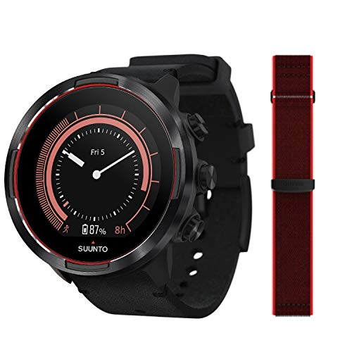 Suunto 9 Baro Reloj deportivo GPS con batería de larga duración y medición de la frecuencia cardiaca en la muñeca, Negro/Rojo, SS050461000