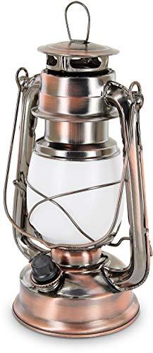 LED Retro Sturmlampe - Drehschalter mit Dimmfunktion - Metallgehäuse - Batterie - warmweiß (2700 K)