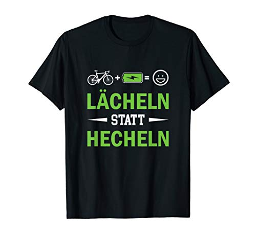 T-Shirt E-Bike | Lächeln statt Hecheln | Ebike E Bike Spruch T-Shirt