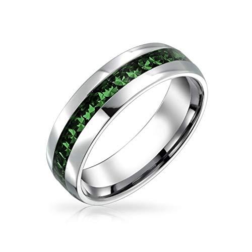 Bling Jewelry Mes del Nacimiento de Mayo Verde Oscuro Color Canal Conjunto Cristal eternidad Banda Anillo para Las Mujeres para los Hombres Plata Tono Acero Inoxidable