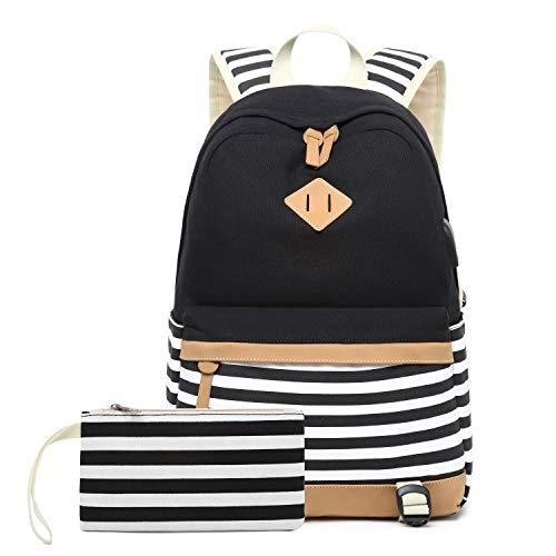 Neuleben Rucksack 2 Set Schulrucksack & Geldbeutel mit Streifenmuster USB Port für Jungen Mädchen Teenager Schulranzen Schultasche 2020 Update (Schwarz)