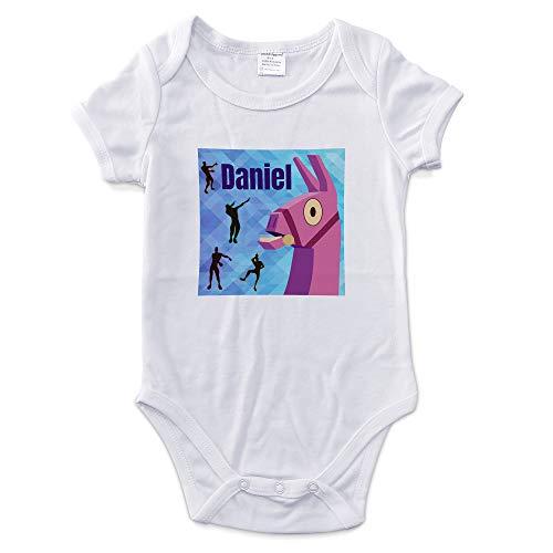 LolaPix Body Bebé Recien Nacido Personalizado con Nombre. Regalos Personalizados para Bebés. Bodies Personalizados Manga Corta. Varias Tallas. Interior 100% de Algodón. Fornite