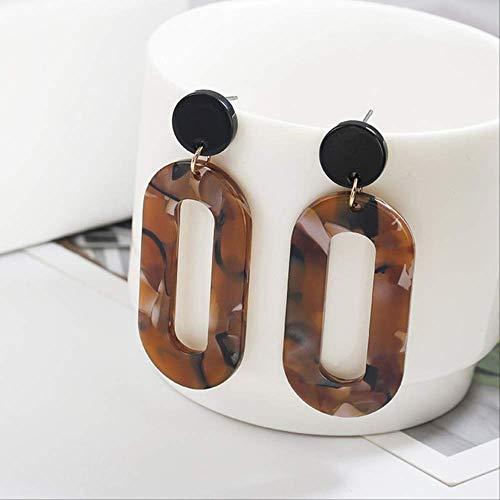 Sieraden voor vrouwenEenvoudige acryl Retro-markeringen Grote oorbellen Geometrische uitgeholde lange oorbellenBruin