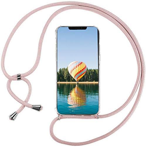 Mi-Case Funda con Cuerda para Xiaomi Redmi Note 10 4G, Carcasa Transparente TPU Suave Silicona Correa Colgante Ajustable Collar Correa de Cuello Cadena Cordón - Rosado